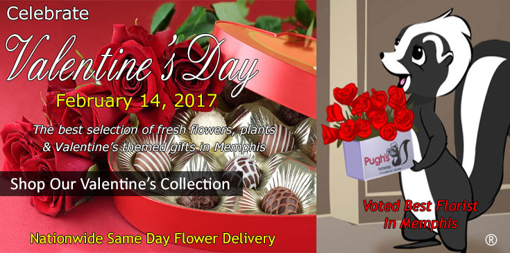Pugh's Flowers offers the best selection of Valentine's Flowers in Memphis Tennessee
