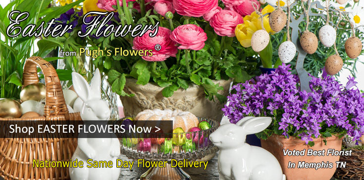Easter Lilies, Flowering Easter Baskets, Easter Themed Floral Table Centerpieces, Palm Leaves